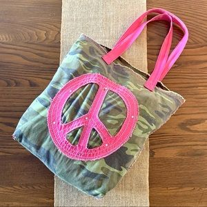 Old Navy Peace Sign Camo Tote